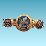 Victorian Grand 14k Micromosaic Micro Mosaic Lion of Venice Bracelet BOLD
