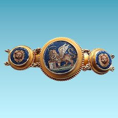 Reserved Victorian Grand 14k Micromosaic Micro Mosaic Lion of Venice Bracelet BOLD