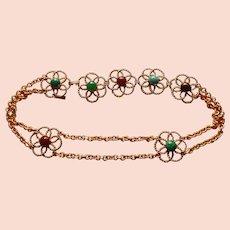 """YSL Vintage Art Glass Gold Tone Belt 1970s 34"""" Designer Belt"""