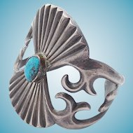 Turquoise and Unmarked Silver Cuff Navajo Native American