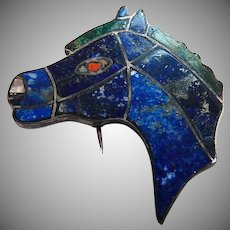 970 Silver Horse Head Inlaid Lapis Brooch Zuni