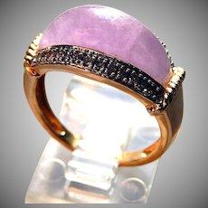 14K Lavender Jade Ring with Diamonds Sz 7 1/4