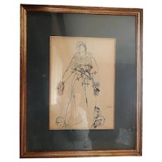 Franco Gentilini Pen and Ink Drawing  Virgin Mary Madonna