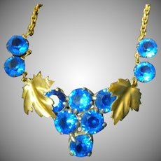Art Deco Glass and Gilt Metal Necklace 1930s Grapes Leaves