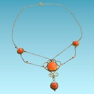 Art Nouveau Festoon Necklace Gold Filled Brass Salmon Art Glass