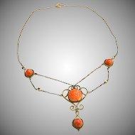 Art Nouveau Festoon Necklace Gold Filled Brass Salmon Art Glass