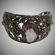 Sterling Silver and Large Amethyst Cuff Bracelet Detailed Art Nouveau 18.65 CT