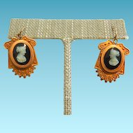 10k Victorian Cameo Earrings Kidney Wires