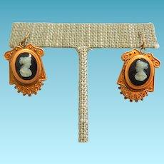 10k Victorian Cameo Earrings Kidney Wires