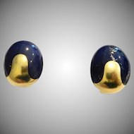 14k Lapis Earrings Sculpted Round BOLD