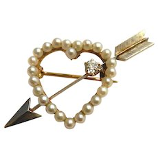 14k Cupid's Heart Brooch with Diamond and Pearls Art Deco
