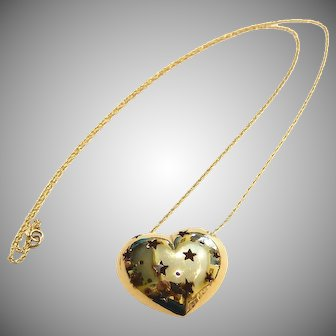 14k Heart Necklace Star Cutouts