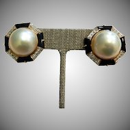 14K Mabe Pearl Earrings with Diamonds and Onyx