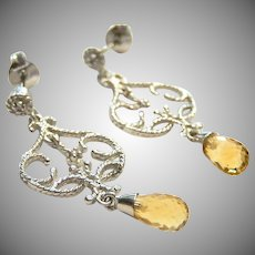 14k White Gold Dangle Earrings Citrine Briolettes