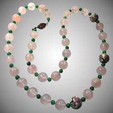 Les Bernard Rose Quartz Enameled Chinese Export Necklace 30 inch
