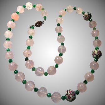 Les Bernard Rose Quartz Enameled Chinese Export Necklace 30 inch