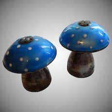 Sterling and Enamel Mushroom Salt and Pepper Shaker Mexican Silver