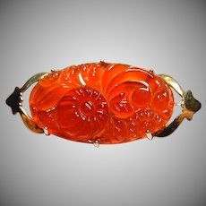 14k Art Deco Brooch Pierced Carnelian Chinese