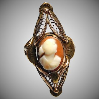 10k Cameo Rose Gold Ring Size 6.5