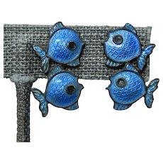 Blue Enamel Fish Earrings Denmark Sterling Volmer Bahner