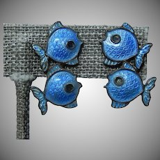 Blue Enamel Fish Earrings Denmark Sterling Volmer Bahner