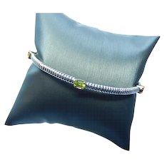 Sterling Bangle Bracelet Multi Colored Gemstones