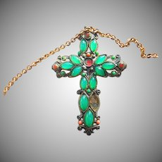 Large Green Pot Metal Cross Pendant with Brass Chain
