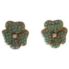 Victorian Revival Pansy Faux Pave Turquoise Costume Earrings 40s 50s