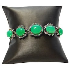 18k White Gold Bracelet with Bold Chrysoprase Stones Chunky Statement