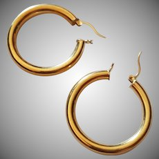 14k Yellow Gold Large Hoop Earrings 3.2 g