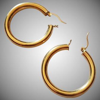 14k Yellow Gold Large Hoop Earrings 3.2 g