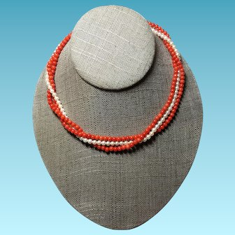 Natural Ox Blood Red Coral Necklace with Akoya Saltwater Cultured Pearls 14k clasp Torsade