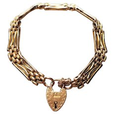 Edwardian Rose Gold Gate Bracelet 9C 9K Heart Padlock Day and Night