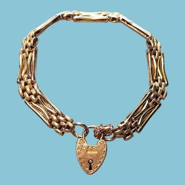 Edwardian Rose Gold Gate Bracelet 9C 9K Heart Padlock Day and Night