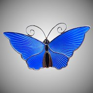 David Andersen Sterling and Blue Enamel Butterfly Pin