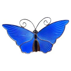 David Andersen Sterling and Blue Enamel Butterfly Pin