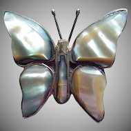 Mexican Sterling Silver Mother of Pearl Butterfly Pin 50s