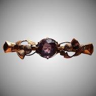 9k Thistle Amethyst Brooch Scottish Bar Pin