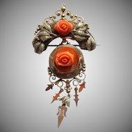 Victorian 14k Coral Rose Brooch or Pendant
