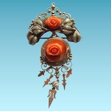 Large Victorian 14k Coral Rose Brooch or Pendant