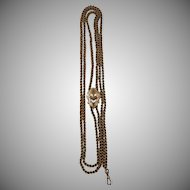 """14k Victorian Slide Pendant Necklace Rose Gold or 14k Victorian Muff Chain 62"""""""