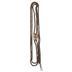 "14k Victorian Slider Pendant Necklace or 14k Victorian Muff Chain 62"""