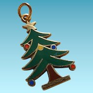 14k Enameled Christmas Tree Charm 14k Enameled X-Mas Tree Charm