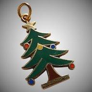 14k Enameled Christmas Tree Charm 14k Enameled X-Mas Tree Charm