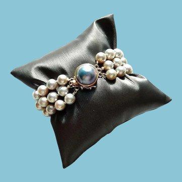 14k Akoya Saltwater Pearl Bracelet Triple Stranded Mabe Pearl Clasp cultured