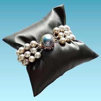 14k Pearl Bracelet Triple Stranded Mabe Pearl Clasp Petite