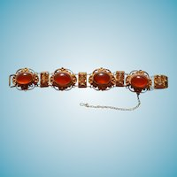Chinese Export Bracelet Sterling Silver Carnelian  Filligree Vermeil Gold