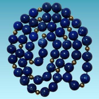 Royal Blue Lapis Necklace 12mm Large Beads