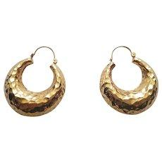 14k Earrings Bold Gold Hammered Finish