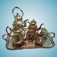 Birmingham Silver Co. Hand Chased Sterling Silver Border Tea Service 1900s Silver Plate
